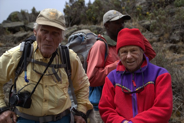 Martin and Esther Kafer are the oldest man and woman to climb to the top of Mount Kilimanjaro. This mountain is the highest point in Africa. The climb was organized by the Alzheimer Society of B.C. Photo courtesy of the Alzheimer Society of B.C