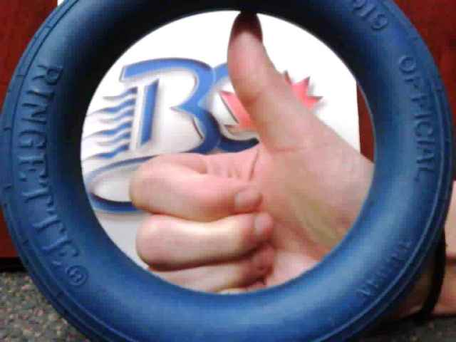 Thumbs Up, showing the blue ring used in the game of ringette Photo courtesy of BC Ringette