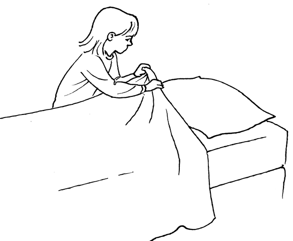 a 5-year-old can make a bed by pulling up the comforter.
