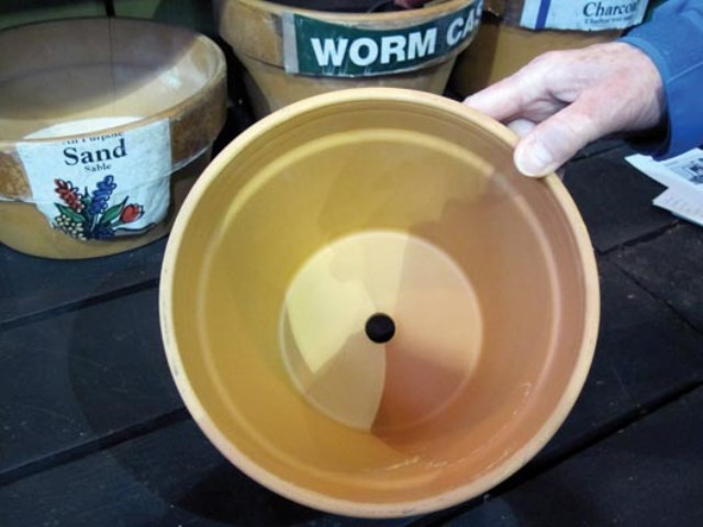 A container with holes, so water can drain.