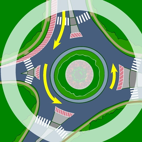 Cars, pedestrians and cyclists share the roundabout Graphic provided by Transport Canada