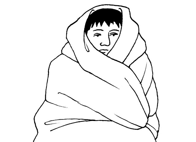 Cover the person with a blanket, or put dry clothing on the person.