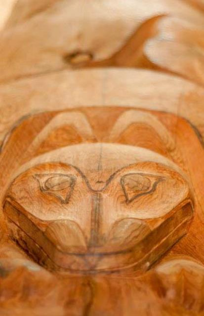 This face is carved into the new totem pole. Photo: Courtesy of The Vancouver Sun