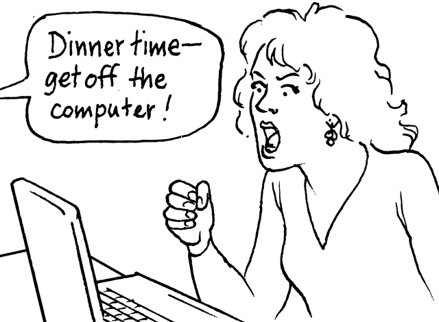 Illustration 4 Some teenagers may feel sad or angry when they cannot use the computer.