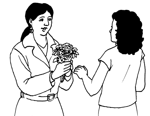 Illustration 4 Bring a small gift when invited to someone's home. Many people bring flowers or sweets.
