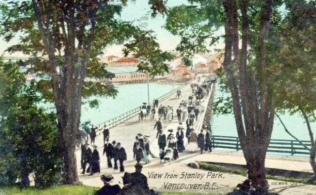 An old postcard from around 1910 shows the bridge over Lost lagoon. The bridge linked downtown with Stanley Park. Photo: The Vancouver Sun from the collection of John Mackie