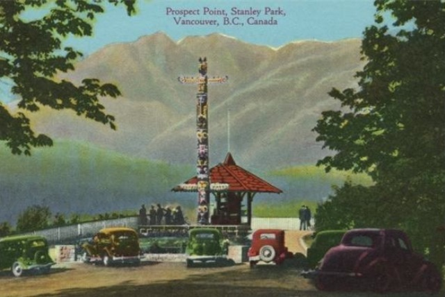An old postcard of Prospect Point shows a totem pole. Photo: The Vancouver Sun from the collection of John Mackie