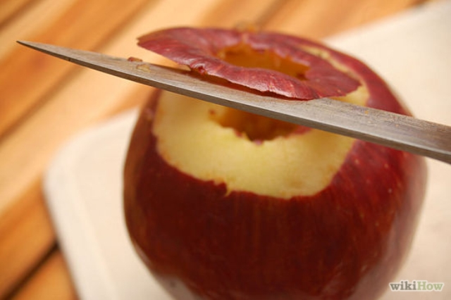 2. Cut the top off the apple.