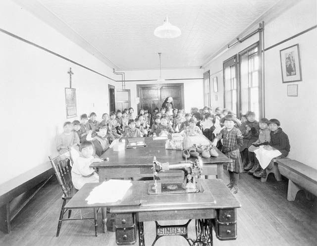 Aboriginal children at Residential School Photo: Library and Archives Canada, PA-185530