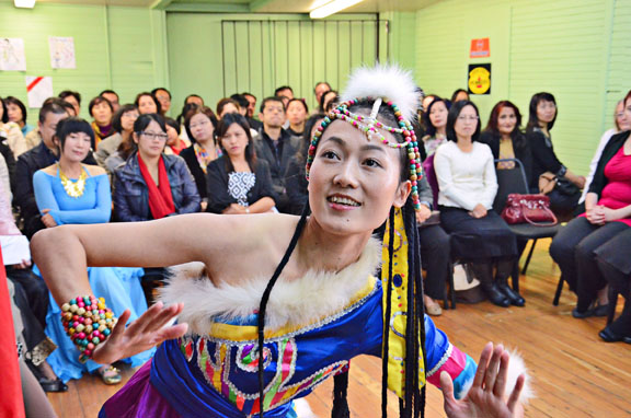 Angela (Qing Li) Wu performed a dance called Walking in Tibet for B.C. Lt. Gov. Judith Guichon. Photos: Heather Colpitts / Langley Advance