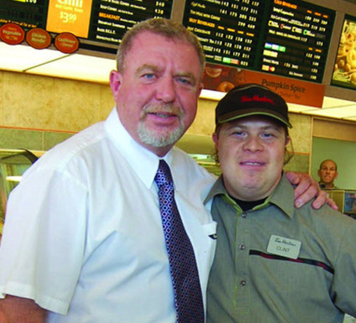 Mark Wafer and employee, Clint, at Tim Hortons Photo: Courtesy of Community Living BC