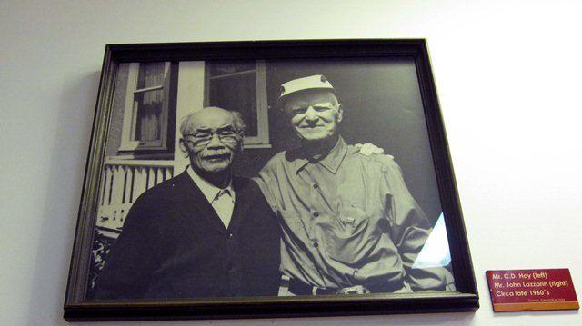 C.D. Hoy with his friend John Lazzarin Photo of photo:  Nila Gopaul (taken at  the Quesnel and District Museum and Archives)