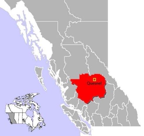 Map of Quesnel, B.C. Photo:  Public domain