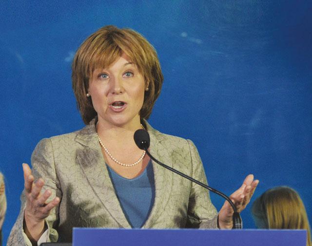 Premier Christy Clark talks to reporters. (Photo: Wayne Leidenfrost/The Vancouver Sun)
