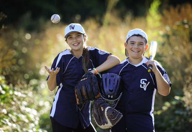 Emma March and her twin brother Evan play on a championship baseball team. Photo: Mark van Manen/PROVINCE