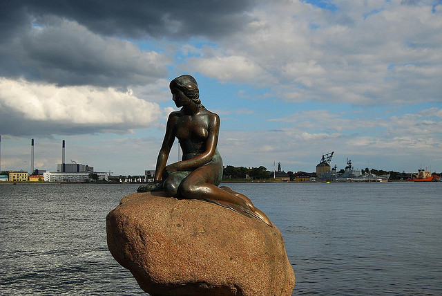Denmark's famous statue of a mermaid, a creature believed to be half woman and half fish Photo by Long Zheng/CC, Flickr