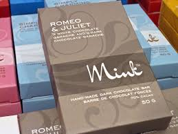 "Mink Chocolate has some unusual names for their bars, like ""Romeo and Juliet"", ""Navel Gazing"" and ""Certifiably Nutty"". Photo – Courtesy of"