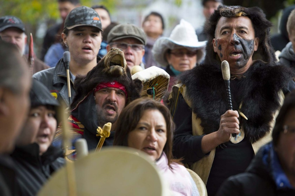 Drummers perform at the 150th anniversary of the hangings Photo by Jonathan Hayward/The Canadian Press