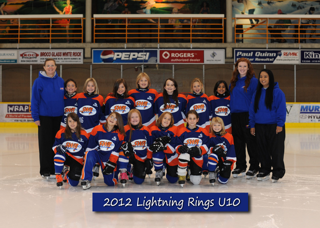 Grace, in the middle of the back row, and her ringette team in 2012 Photo by Rob Sturgess.