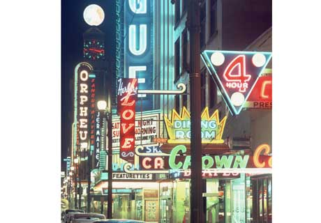 1960 at night of on Granville Street downtown Photo by Ken Oakes/The Vancouver Sun
