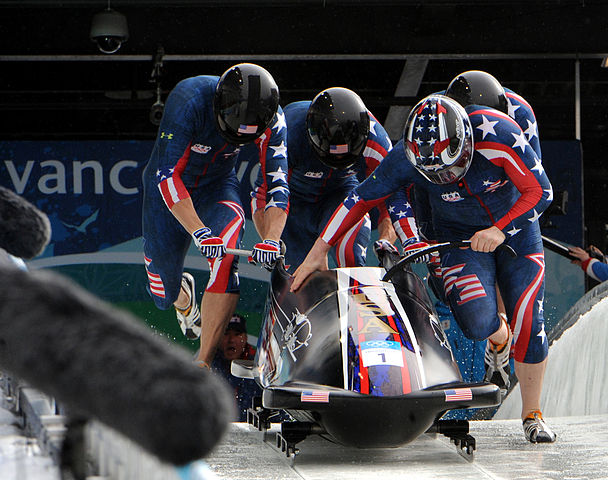 Four-man bobsled at the 2010 Vancouver Olympics Photo – Public Domain