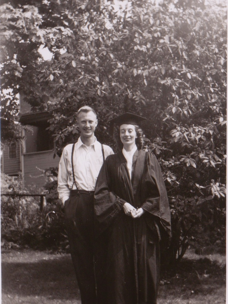 Constance Holmes and her brother David  at her graduation from Victoria College in 1948.  Submitted by the Holmes Family