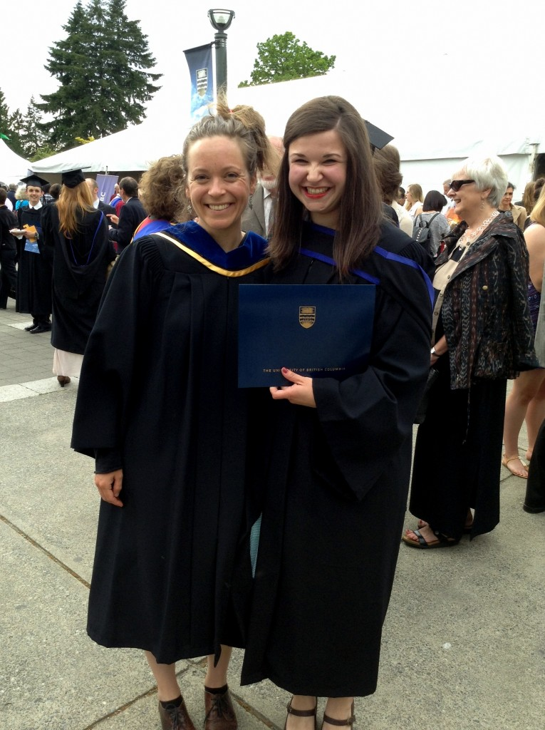 Researchers Molly Babel and Jamie Russell at UBC graduation Photo by Jamie Russell