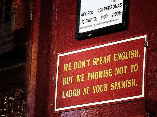 We don't speak English sign Photo by Arkangel/CC, Flickr