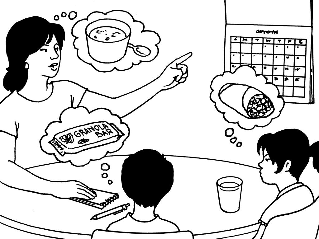 Sit down with your children. Plan your week's lunches.