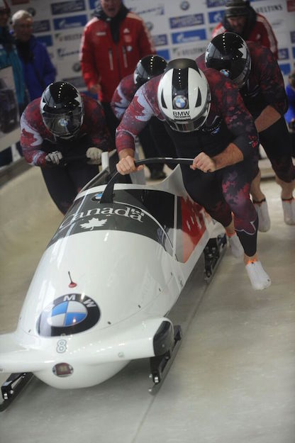 A four-man bobsled starts a race. PHOTO: Charlie Booker