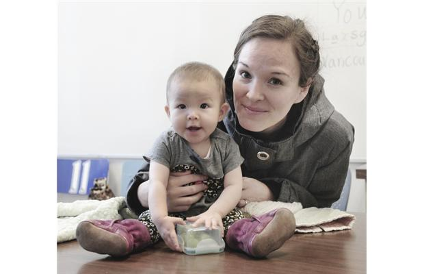 PHOTO - NICK PROCAYLO / VANCOUVER SUNJolene Andrew brings her daughter, Raine, from New Westminster every day