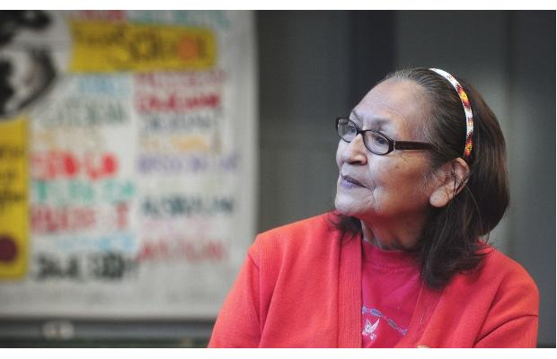 PHOTO - NICK PROCAYLO / VANCOUVER SUN Lucy Chapman, from the Thompson and Sto:lo First Nations, is the school elder at Aboriginal Focus School in Vancouver.