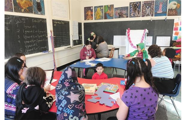 PHOTO - NICK PROCAYLO / VANCOUVER SUN Morning classes at Aboriginal Focus School in Vancouver