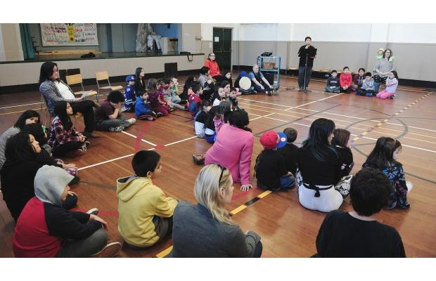 PHOTO - NICK PROCAYLO / VANCOUVER SUNMorning assembly at Aboriginal Focus School in Vancouver.