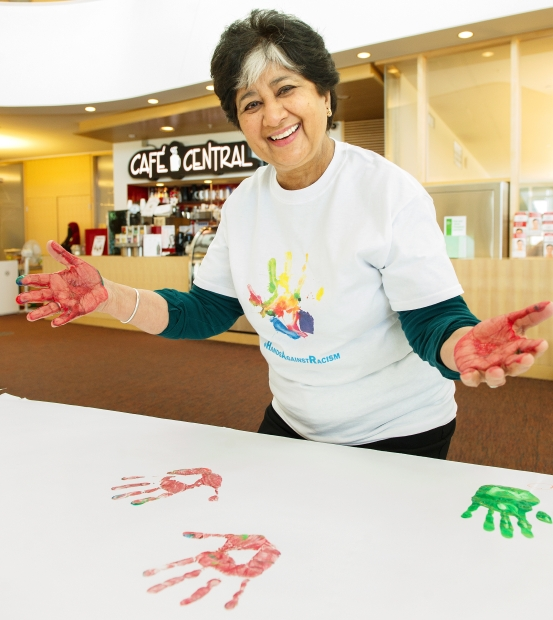 PHOTO - JENELLE SCHNEIDER / THE PROVINCE Make a handprint. Put it on a banner. Sushma Datt shows you how.