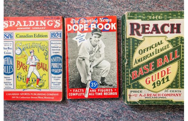 Baseball guides from the first half of the 20th century. PHOTO - ARLEN REDEKOP / VANCOUVER SUN