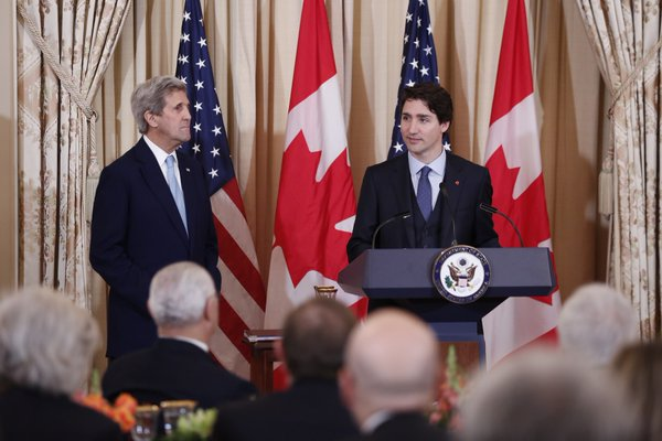 PHOTO: COURTESY THE OFFICE OF THE PRIME MINSTER Secretary of State John Kerry and Prime Minister Justine Trudeau