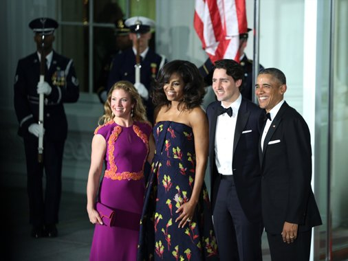 PHOTO: COURTESY THE OFFICE OF THE PRIME MINSTER Sophie Grégoire-Trudeau, Michelle Obama, Justin Trudeau, and Barack Obama.