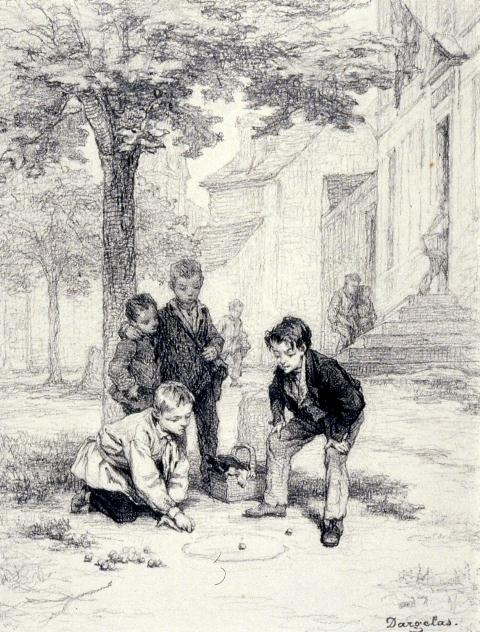 Boys_Playing_MarblesPhotos by André-Henri Dargelas