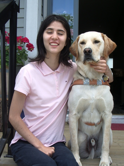 Angell is a student at SFU. Her guide dog Kobe goes to school with her. Photo courtesy of B.C. Guide Dog Services